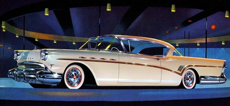 1957 Buick Roadmaster in all its Tail-fins and Chrome glory. A freeze-frame of a bygone era with some of the most beautiful cars ever made.