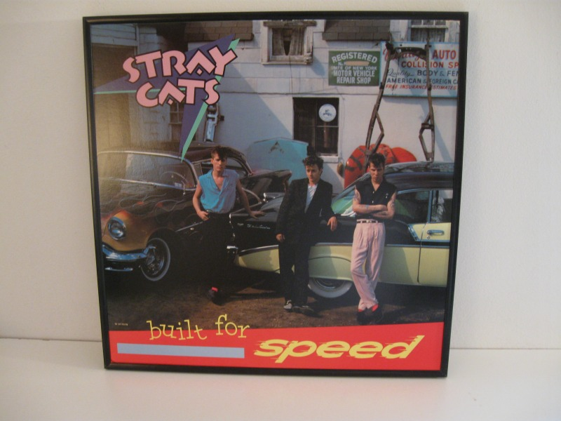 1982 Stray Cats LP, Built For Speed. Find a special wall in your man cave for this framed one-of-a-kind Rockabilly Album Cover Art.