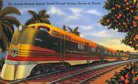 Hey, look a-yonder comin'...Comin' down that railroad track...It's the Orange Blossom Special...Bringin' my baby back.