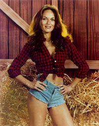Catherine Bach and her Daisy Duke cut-off denim shorts at Vinyl Record Memories.com