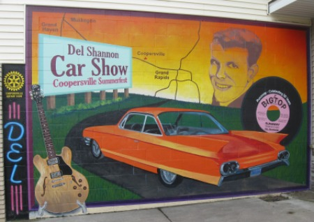 Del Shannon Days painted mural on building in Coopersville, Michigan.