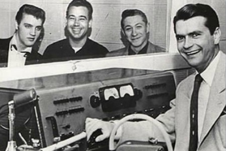 Elvis, Bill Black, Scotty Moore and Sam Phillips and Sun Recording Studio.