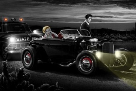 Joyride by Helen Flint. Hotrod looks similar to the Elvis ride in 1957 movie Loving You.