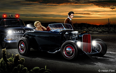 Joy Ride by Helen Hunt. Painting depicts the Hot rod used in the 1957 movie, Loving You.