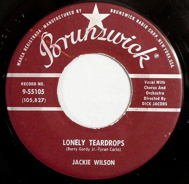 Jackie Wilson Lonley Teardrops original 45 record from 1958.