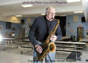 Vinny Mazzetta in 2010 playing in the church basement where the song In The Still of The Night was recorded. Photo courtesy of Peter Casolino/New Haven Register.