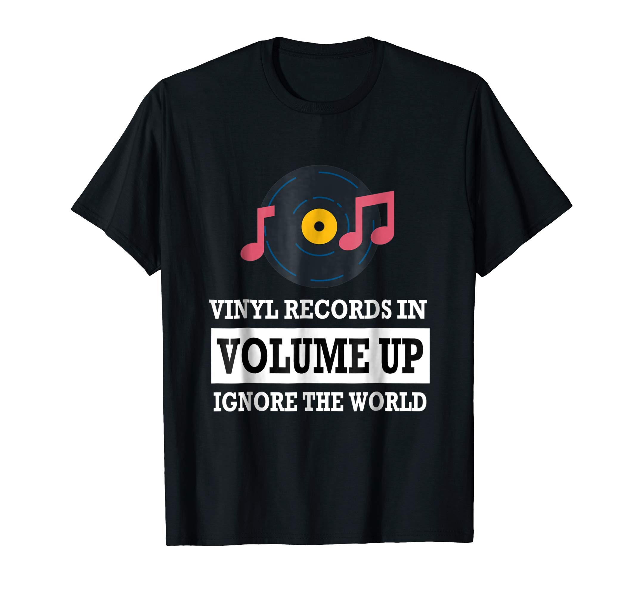 Vinyl Records In Volume Up Ignore The World T-shirt.