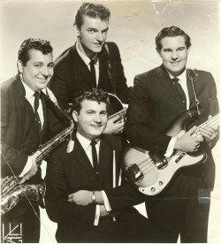 Original members of The Fireflies. Paul Giacalone with drum sticks, Ritchie Adams (top center), Lee Reynolds on the right, and John Viscelli on the left.