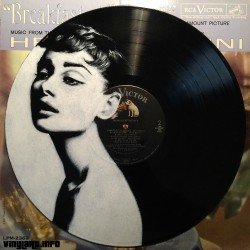 Audrey Hepburn painted on the Movie Sound Track LP, Breakfast at Tiffany's.